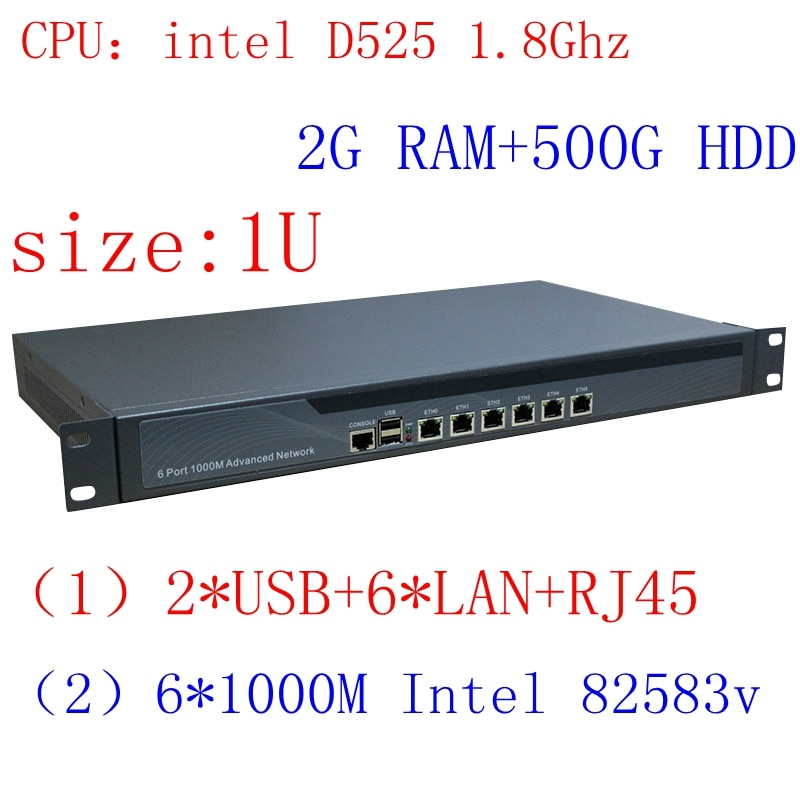 1U Atom Server / Firewall Network Security Atom D525  6 lan  6*intel PCI-E 1000M 82583v Lan 2G RAM 500G HDD