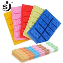 10 gaten Ijsbakje Rechthoek Silicone Bouwsteen Ice Mold Lego Blokken Ijs Vorm Siliconen Snoep Schimmel Jelly DIY