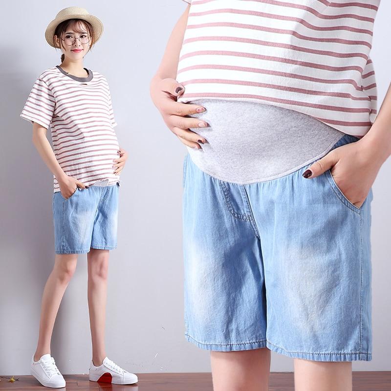 2019 summer maternity jeans short for pregnant women breathable pregnancy clothes comfortable love print abdominal denim shorts