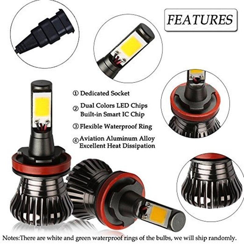 Купить с кэшбэком 1 pair Car Fog Driving Lights H8 H9 H11 9005 HB3 9006 HB4 H27 880 881 Bulb Lamps LED 80W White Blue Golden Dual Color 12V