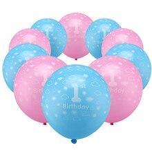 Ballon Latex rose bleu 12 pouces 10 pièces/lot   Ballons à Air bricolage pour décoration réception-cadeaux pour bébé anniversaire 1 an