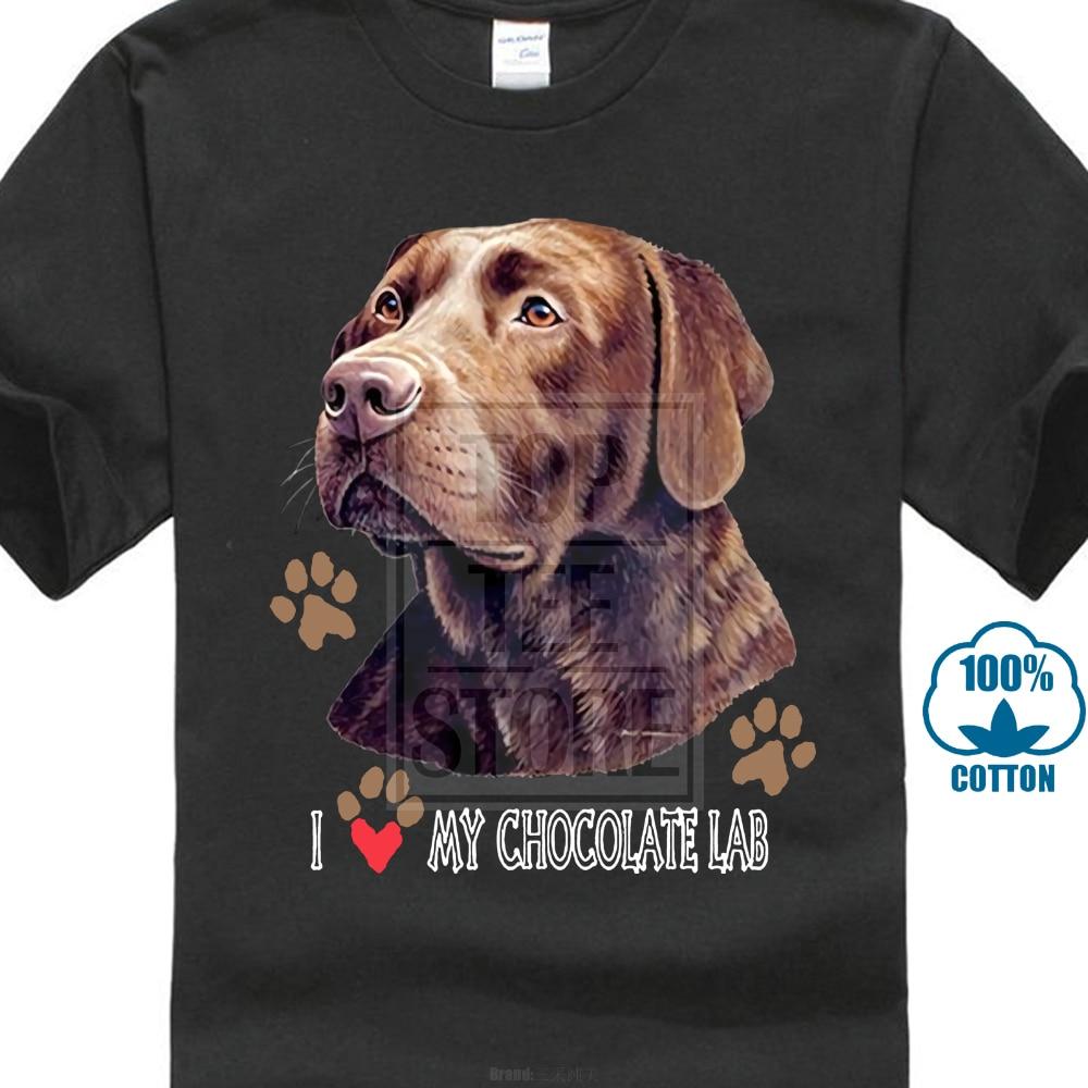 Personalizzati T Camicette T Camicia Casual Manica Corta Per Gli Uomini di Abbigliamento degli uomini di Estate-b I Love My Cioccolato Cane Labrador T Della Camicia di Vestito