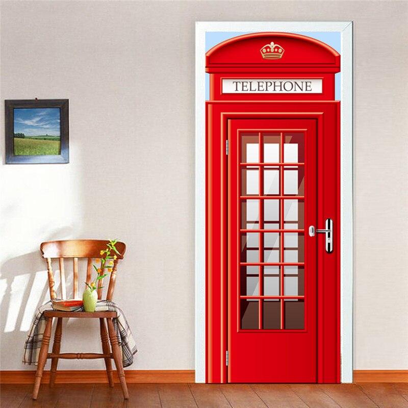 Pegatinas autoadhesivas 3D impermeables para puerta, pegatinas para cabina de teléfono europea, adhesivo para pared para dormitorio, sala de estar, dormitorio, adhesivo para puerta