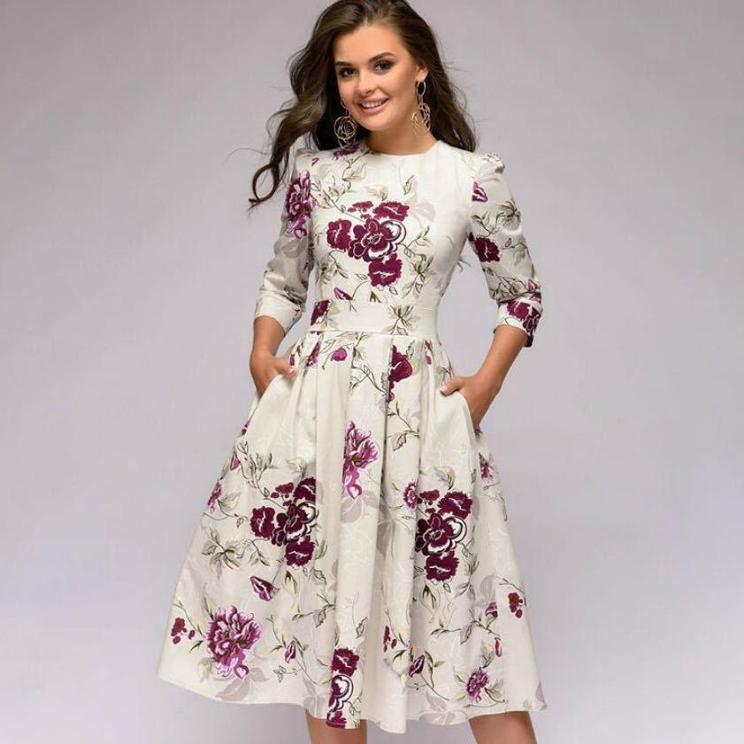 Plus Größe Frauen Kleid Retro O Neck Floral Print Slim A-linie Kleid 3/4 Hülse Vintage Casual Party Kleider Vestidos