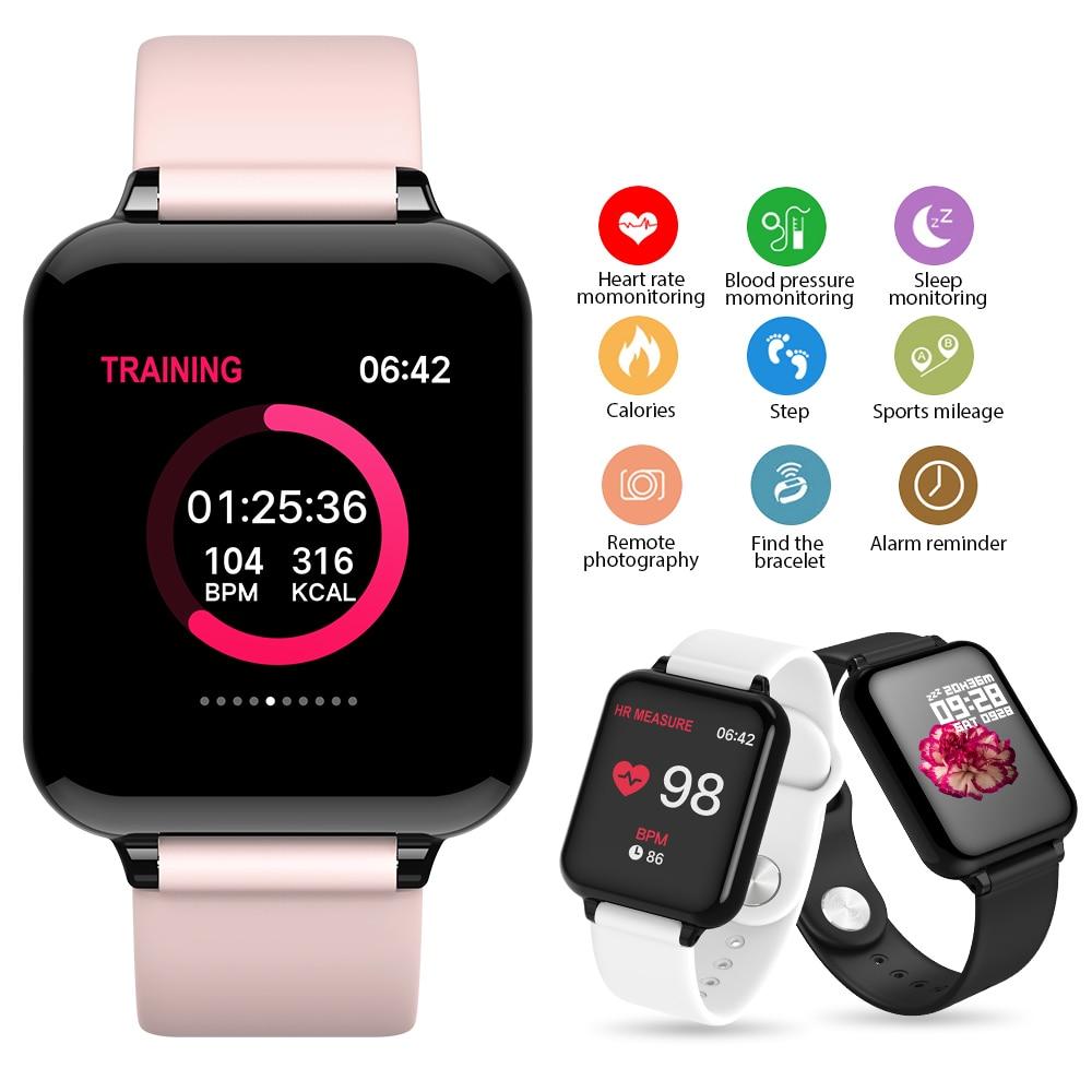 Relojes de moda inteligentes B57, deportes impermeables para teléfono Samsung A50, smartwatch con monitor de ritmo cardíaco y funciones de presión arterial