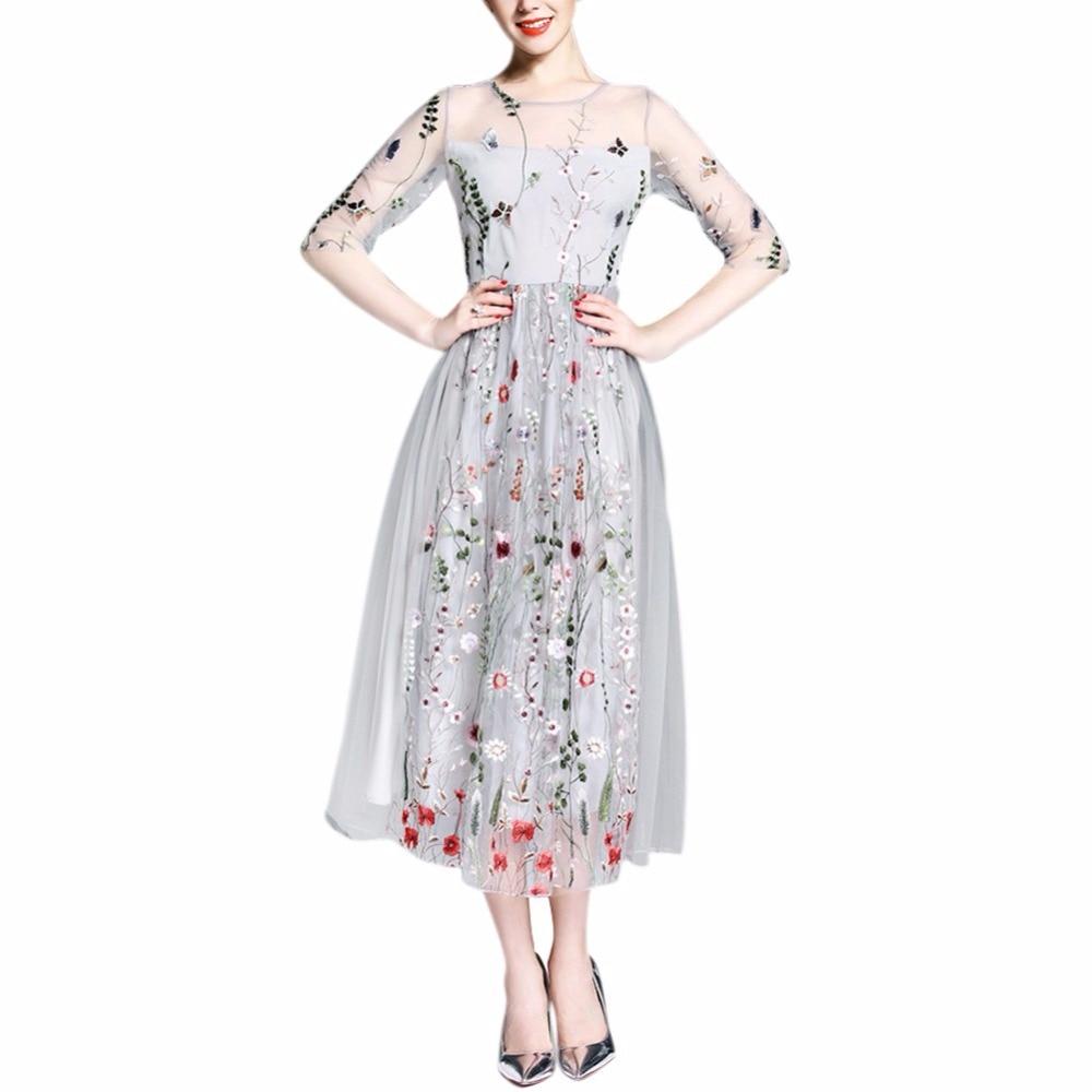 Vestidos De moda hermosos De media manga De malla transparente elegante bordado Vestidos largos bohemios Vestidos De fiesta