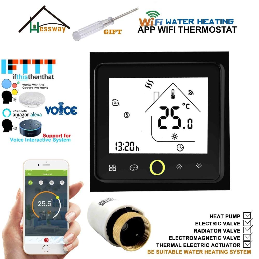 Controlador de temperatura programable del termostato del radiador wifi Interacción de voz control doméstico Alexa Google para calefacción de suelo 3A