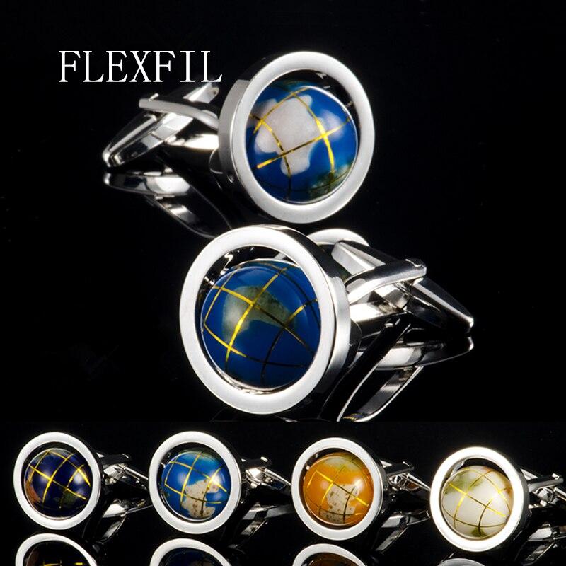 Abotoaduras giratórias para homens, abotoaduras da moda, globo terra, mundo, botões de punho, presente de natal para homens, de metal