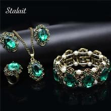 Moda casamento conjuntos de jóias de noiva verde cristal antigo bronze conjunto de jóias colar brincos pulseira anéis presente natal