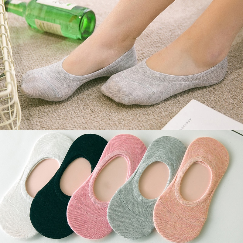 5pairs/lot new children's invisible shallow mouth no trace short boat socks Slip Silicone candy colo