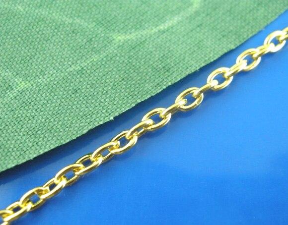 DoreenBeads 300 cm cadenas chapadas en oro hallazgos 3x2mm