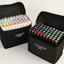Touchfive 30/40/60/80 cores conjunto marcador de arte álcool baseado esboço caneta marcador para desenho manga design arte conjunto suprimentos