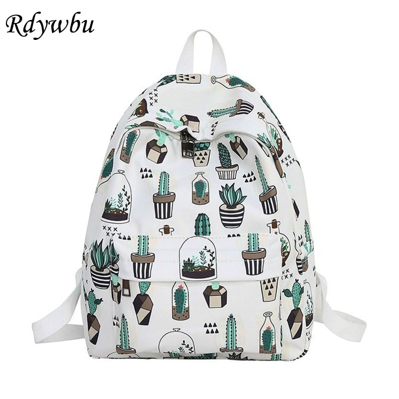 Mochila estampada de gato Rdywbu con diseño de Cactus, Mochila escolar de gran capacidad para adolescentes, bolsa de viaje informal para niñas, Mochila B234