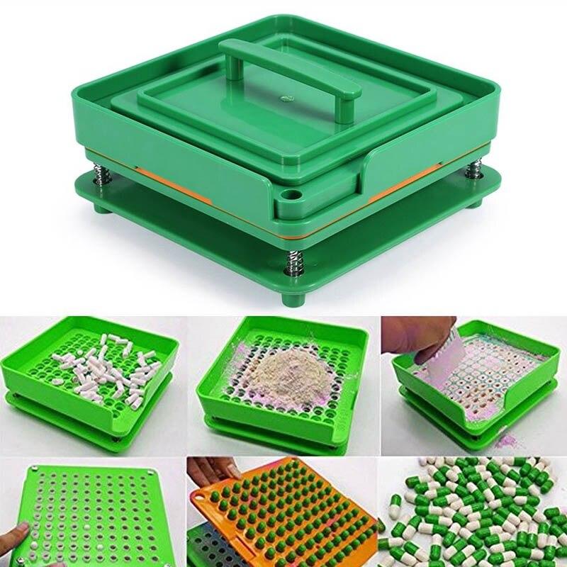 Cápsulas rellenables, 100 agujeros, tabla de llenado de cápsulas, herramientas de llenado ABS de calidad alimentaria, apto para 0 cápsulas, Máquina Manual de llenado de cápsulas