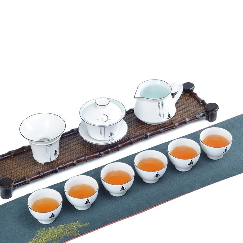 بيني 9 قطعة/المجموعة/مجموعة الخزف الأبيض الكونغ فو الشاي مجموعة السيراميك إبريق الشاي زين جيوان الشاي الصيني مجموعة الشاي خدمة غلاية و الشاي