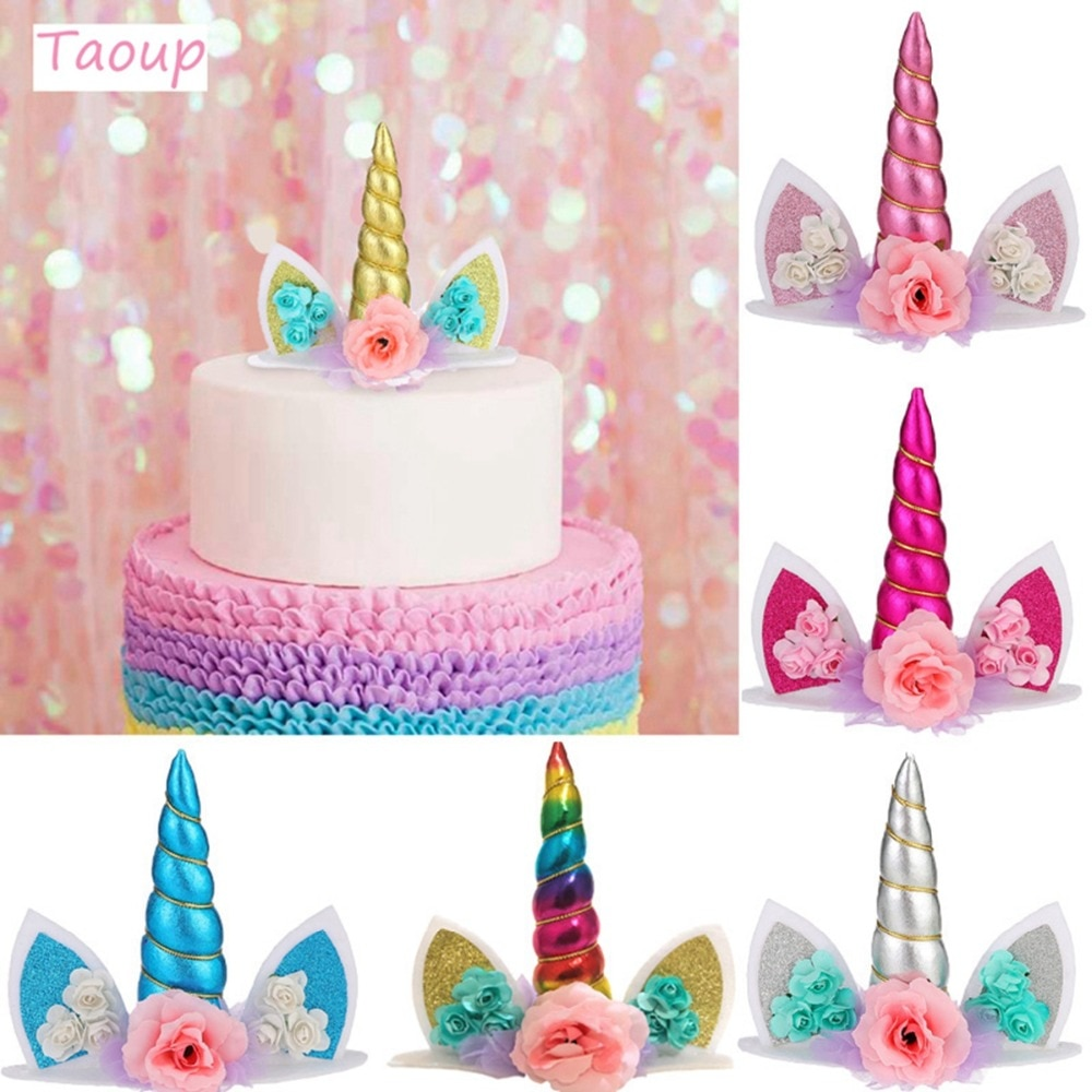 TAOUP Wedding Babyshower Unicorn Cake Topper Decor for Decorating Supplies Birthday Party Unicornio