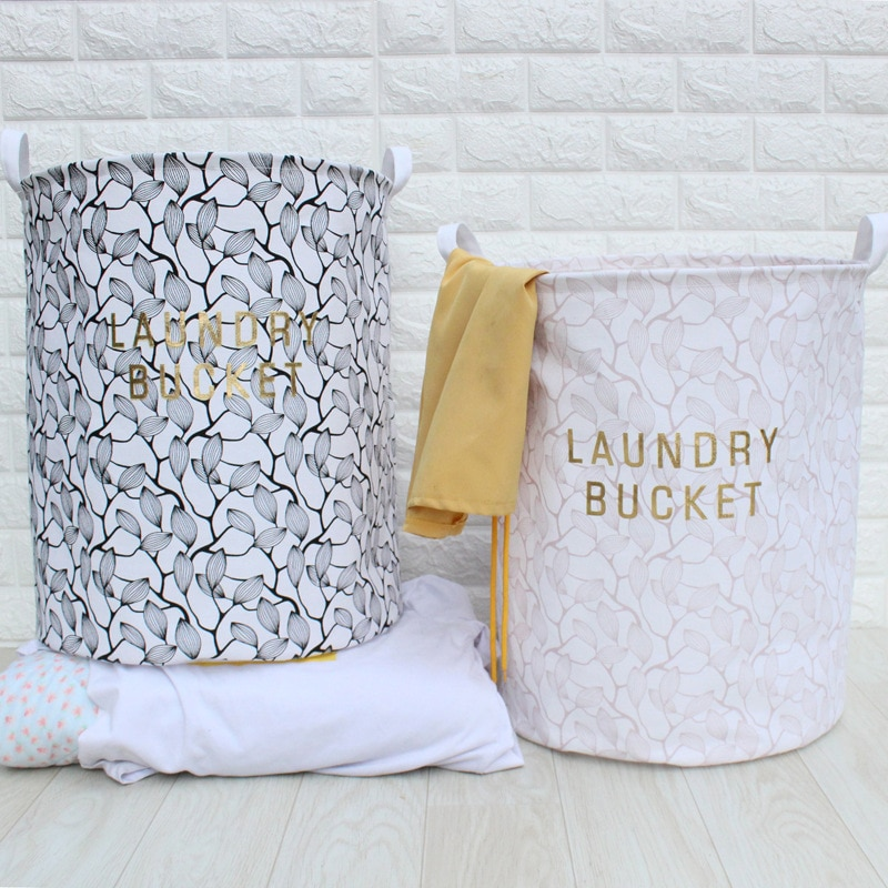 40*50cm Cotton Linen Laundry Basket for Dirty Clothes Waterproof Folding Toy Organizer Storage Bucket Home Organization