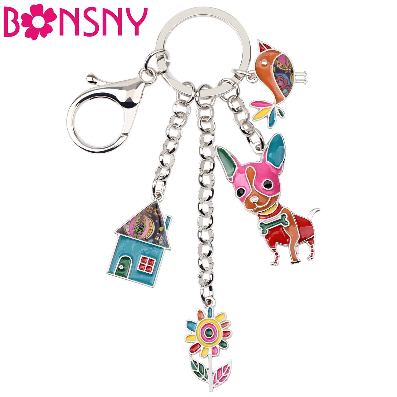 Bonsny Enamel Metal Chihuahua Dog Bird Flower House Key Chain Key Ring Bag Handbag Charm Man Key Holder Jewelry For Women