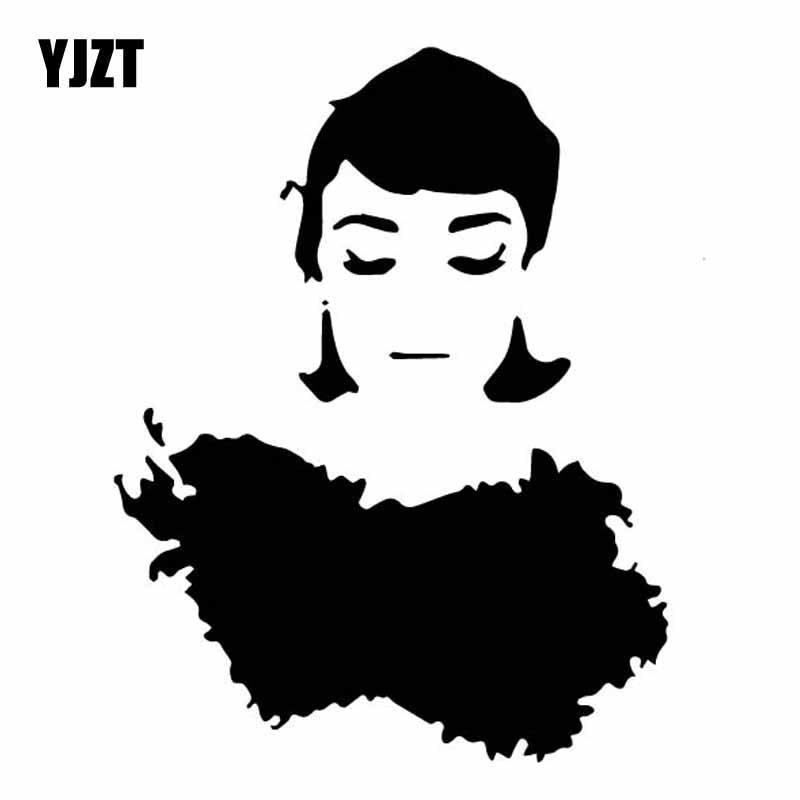 YJZT 12CM*15.5CM Delicate Audrey Hepburn Art Car Sticker Nice Vinyl Decal Beautiful Black/Silver C27-0197