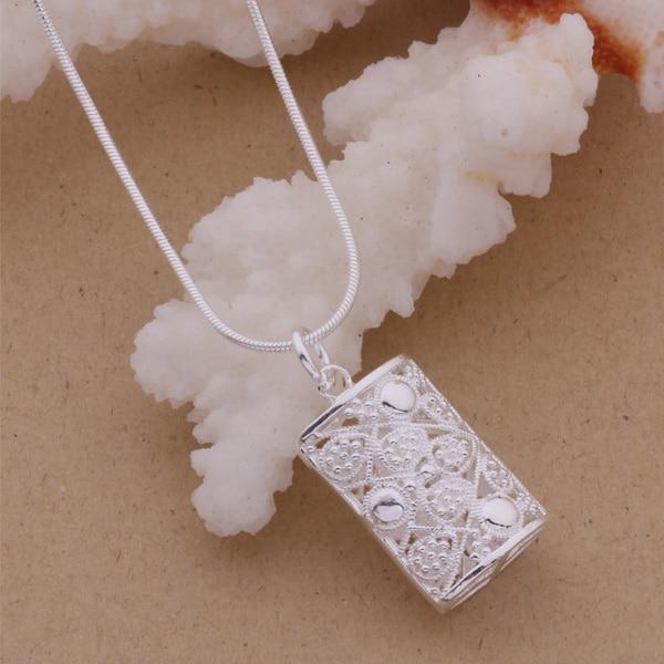Collar de plata esterlina AN086, colgante de joyería de moda, rectangular brillante/gfmaowta akaajbha color plata