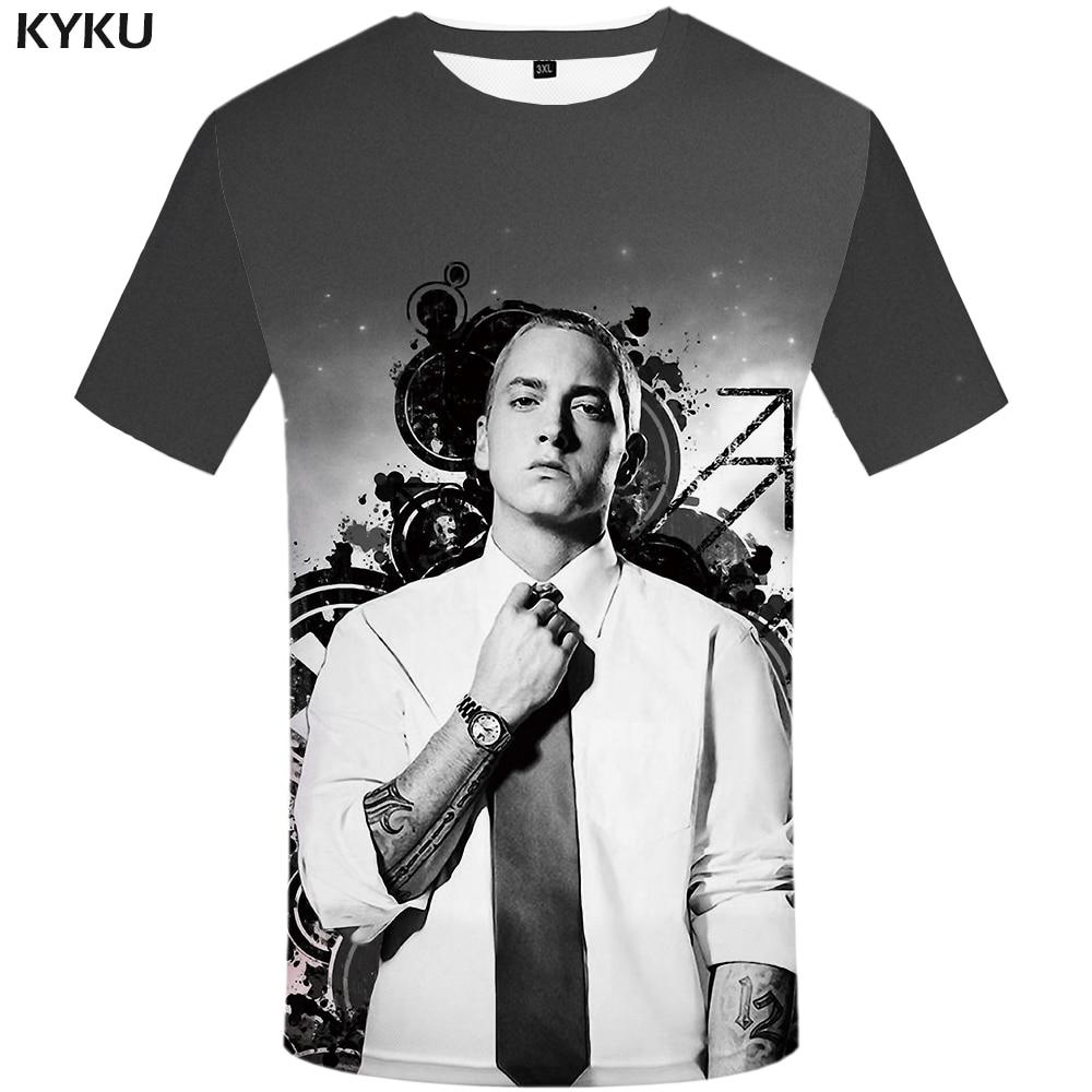 KYKU Eminem T Shirt hombres carácter camiseta música 3d camiseta Punk Rock tinta divertidas camisetas Cool Mens ropa 2018 camisetas Casuales
