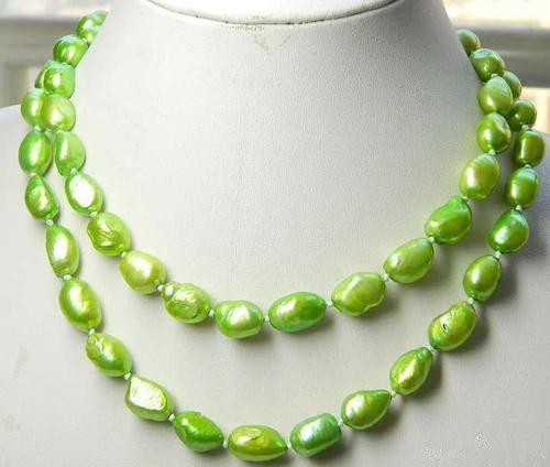 Jew2369 8-10mm Verde Perla Cultivada de Akoya Collar 33 (A0511)