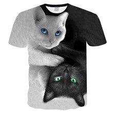 Preto e branco gatos camiseta homem/mulher 3d impressão miow estrela gato hip hop cartoon tshirts verão camisetas moda 3d camisas