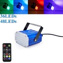 7 colori 36 48 LED Della Discoteca del DJ Suono Attivato Proiettore Laser Strobe Flash Lumiere RGB Effetto di Fase di Illuminazione Della Lampada Musica luce del partito