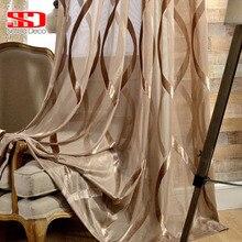 Rideaux en Tulle blanc brillant pour salon   Rayures ondulées, rideaux transparents, décoration moderne solide, Voile de balcon traitements de fenêtre