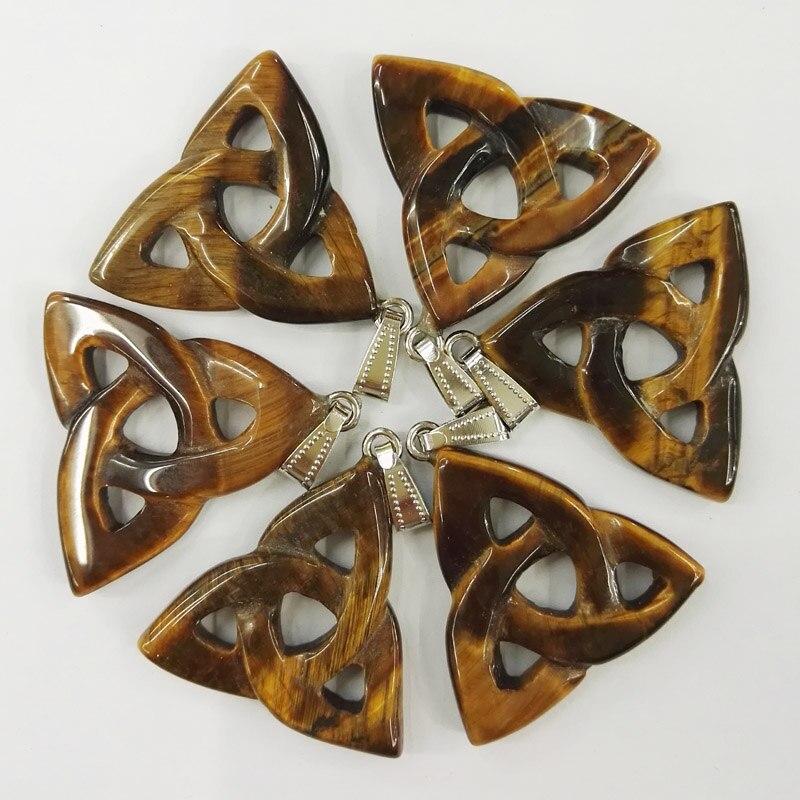 Moda piedra de ojo de tigre natural triángulo hueco collar de alta calidad para la fabricación de joyas colgantes encanto 10 unids/lote envío gratis