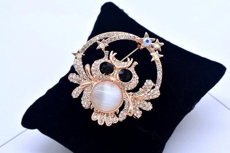 Broche Pin de ópalo con incrustaciones Vintage, accesorios de abrigo para mujer, broche de cristal de Bulgaria, joyería para niñas, broche de búho europeo Premium