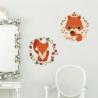 jungle wild forest animals squirrel fox wall stickers children kids refrigerator window flower wall decal christmas decoration