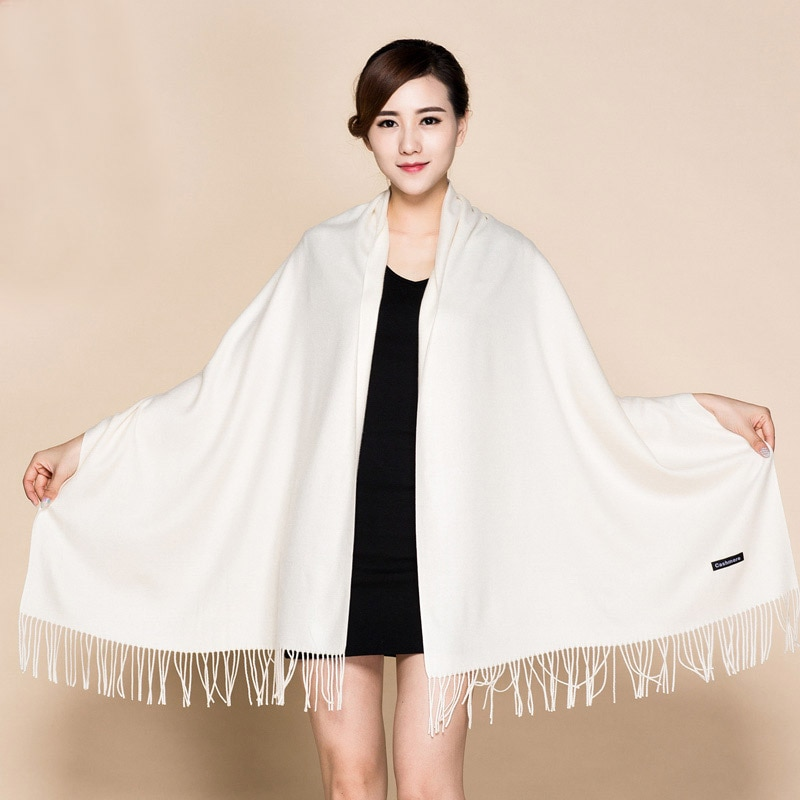 Blanco sólido 100% suave de las mujeres nueva Gran Fina de moda borlas de Pashima de Mantón largo abrigo de bufandas caliente 112001