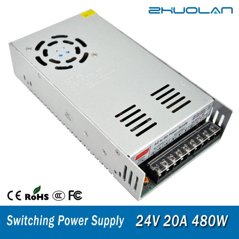 Interruptor de fuente de alimentación para adaptador Led de cinta AC 110 / 220V a DC 24V 20A 480W transformador