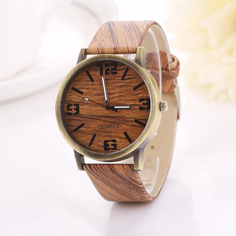הלו בציר עץ Relojes קוורץ גברים נשים שעונים מקרית עץ צבע עור רצועת שעון עץ שעוני יד Relogio Masculino