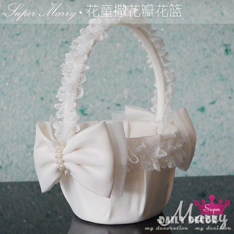 High-Q flower girl-basket de satén para boda, lazo de encaje, accesorios de...