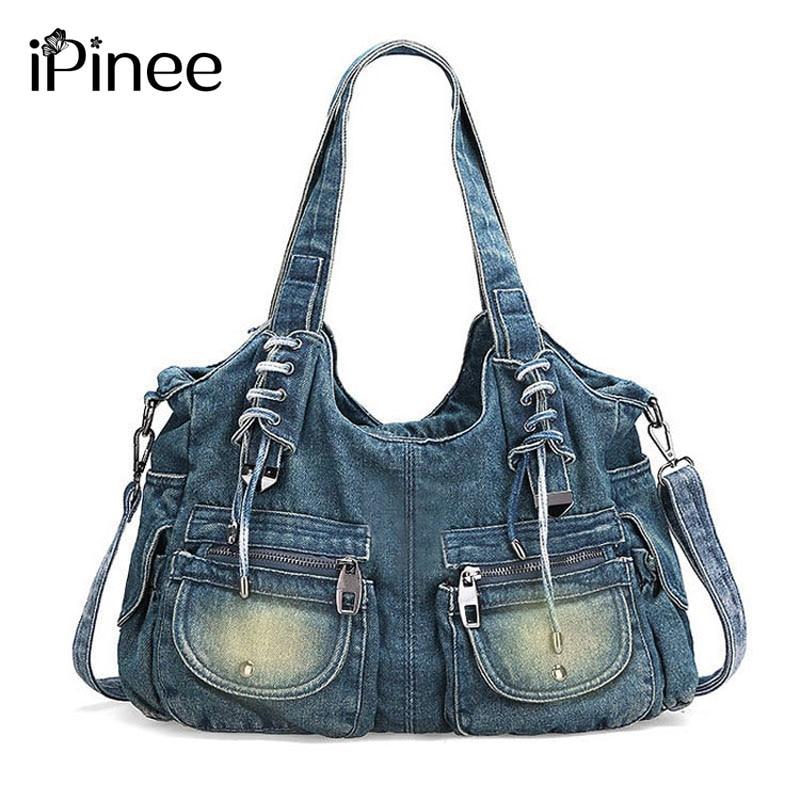 iPinee Fashion Women Bag Vintage Casual Denim Handbag Lady Large Capacity Jeans Tote Weave tape Creative Shoulder Messenger Bag