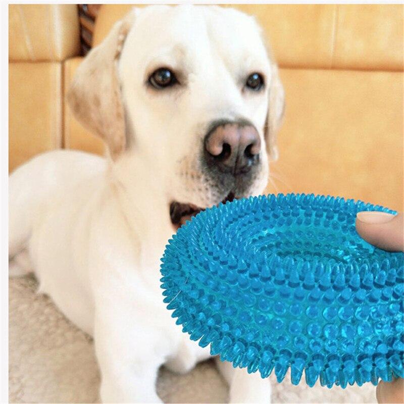 L/m brinquedos para animais de estimação golden retriever grandes cães squeak mastigar treinamento engraçado roer thorn círculo anel pequeno cão brinquedos som interativo