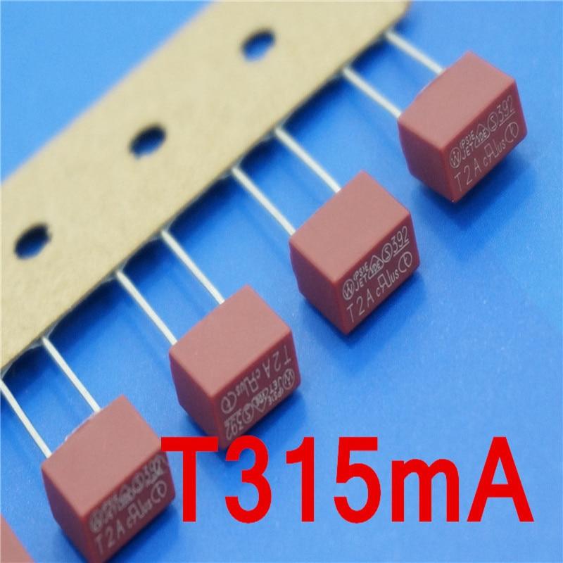 (10 pçs/lote) T315mA 250 V TE5 Slow Blow Fuse Subminiature, VDE UL RoHS Aprovado, 315mA, 0.315Amp.