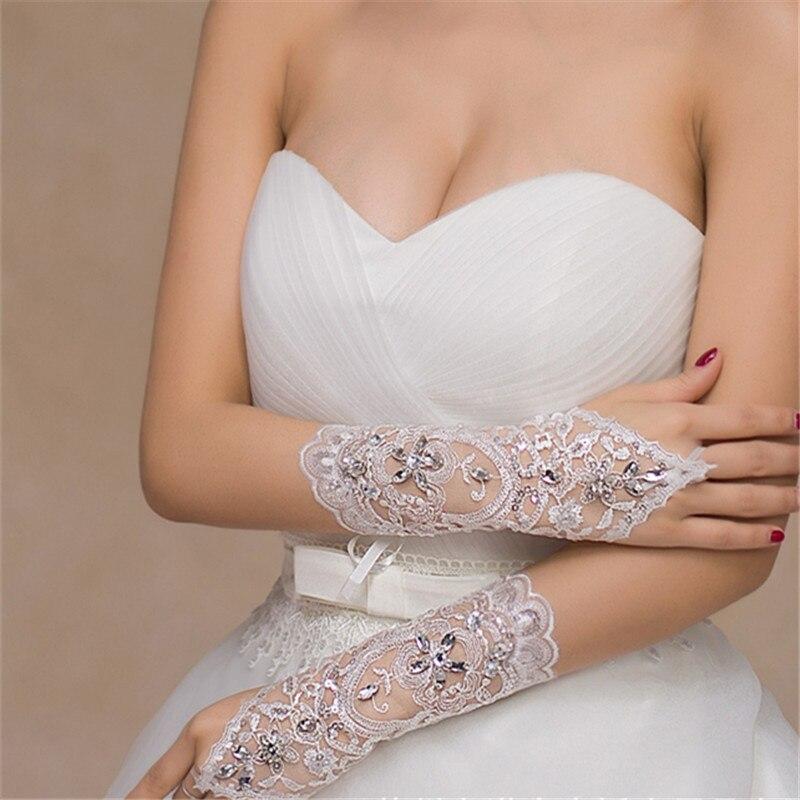 Barato tamaño libre blanco sin dedos Rhinestone encaje lentejuelas corto nupcial guantes de boda accesorios de boda