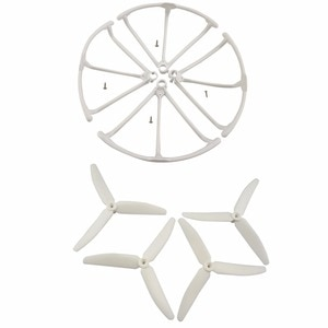RC accessories 4PCS 3-leaves propeller and 4PCS propeller guard for Hubsan X4 H502S H502E H502T H507A H216A Quadcopter-White