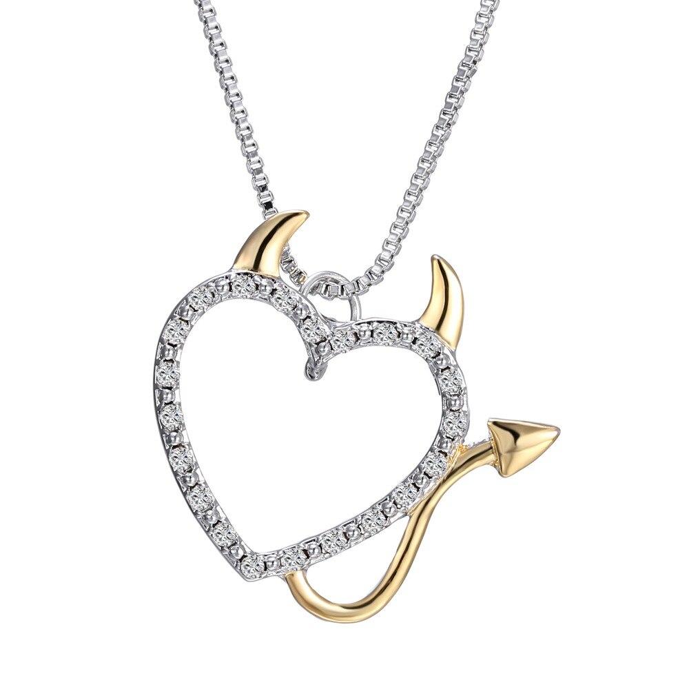 Collares románticos con cadena de eslabones con colgante con forma de corazón y dulce amor para mujer, accesorios de compromiso de boda con alas de Ángel y Diablo, joyería