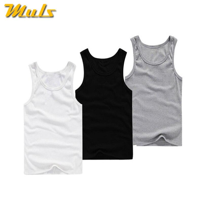 3 unids/lote top de tirantes de algodón Tops hombres verano sin mangas chaleco ropa interior transpirable Flexible chaleco casual marca MuLS blanco gris negro