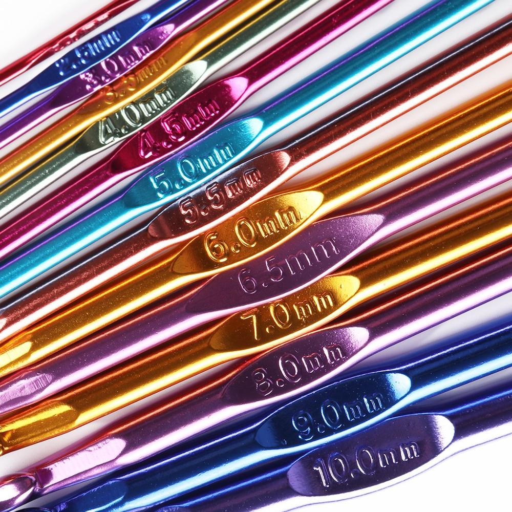Newest 14 Sizes Multi Colored Aluminum Crochet Hooks Knitting Needles Kit Handle Knitting Needles For Loom Band DIY CA