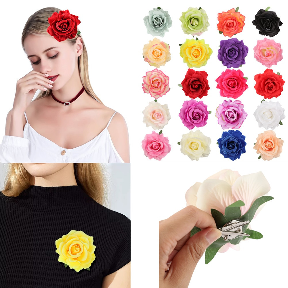 20 unids/set de horquillas de tela colorida para la playa estilo bohemio para mujer, accesorios para el pelo con flores, vestidos femeninos, horquillas de rosa para decoración de fiestas