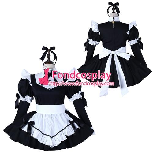 Sissy maid robe en coton verrouillable uniforme cosplay costume sur mesure [G2275]