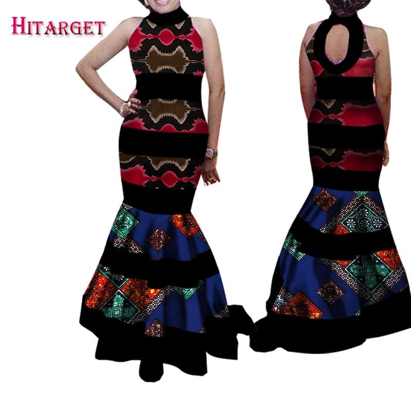 Африканские платья, модные африканские платья для женщин, Bazin Riche, лоскутные платья с открытой спиной, платья Анкары, африканская одежда, WY1512