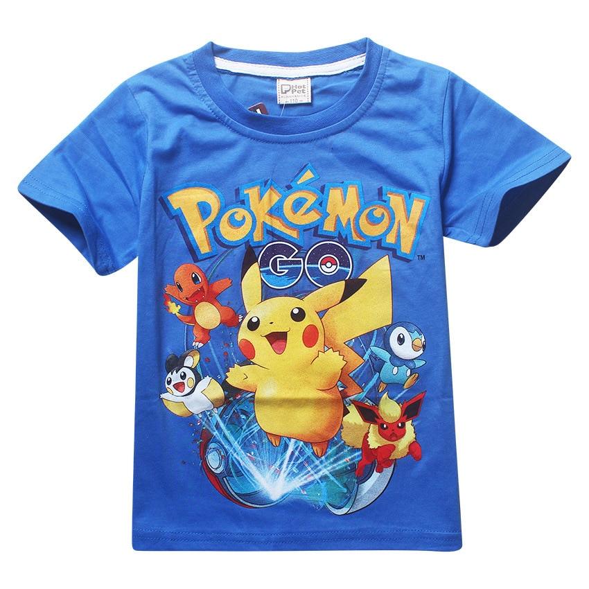 Summer children kids Shorts t-shirts cotton Pokemon Go boys girlls  tops tees pikachu t shirts for 3-9Years baby boys clothes