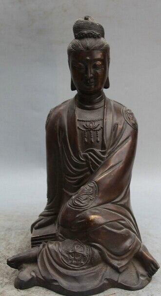"JP S0524 11 ""Tíbet Budismo Bronce Asiento Kwan-yin de Guan yin Bodhisattva Estatua de La Diosa"