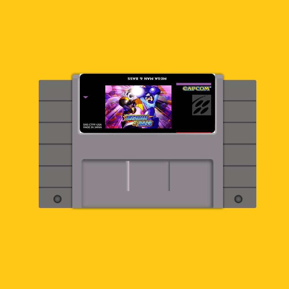 Megaman y Bass-tarjeta de juego grande, 16 bits, gris, para NTSC de...